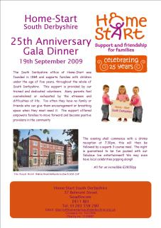 Flyer for Homestart's Gala Dinner