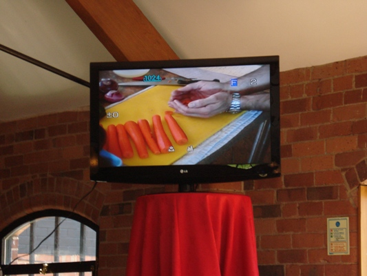 Big Screen at the Yard, Swadlincote for the Volunteers Week Cookery Demonstration