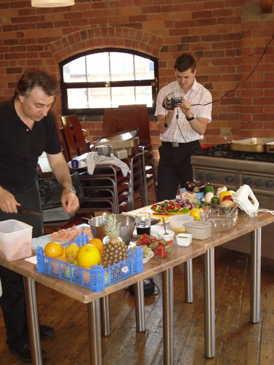 Chef Stefan in action at the Yard, Swadlincote for the Volunteers Week Cookery Demonstration