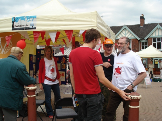 A busy moment at the Volunteers Week market stall
