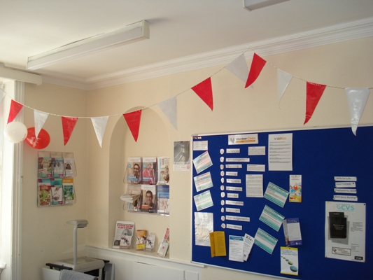 South Derbyshire CVS Meeting Room decorated for Volunteers Week